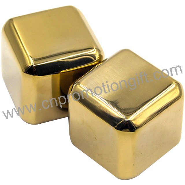 Promotional Products Square Ice Cube Stone Gold Whiskey Stones For Wedding Gifts