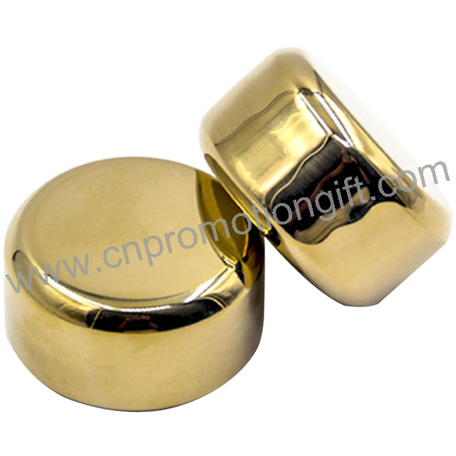 China Gift Items Gold Steel Bar Accessories Reusable Chill Rocks Whiskey Stones