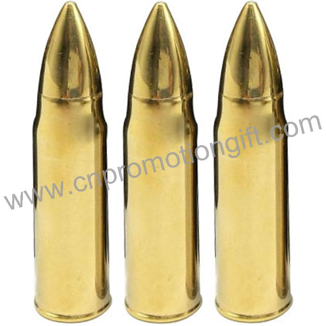 Amazon Best Seller With Customized Logo Stainless Steel Gold Whiskey Bullet Stones