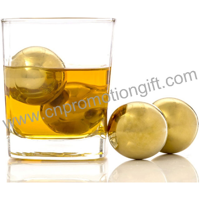 New Gadgets China Ball Whiskey Stones Premium Gift Round Ice Cube Maker Gold