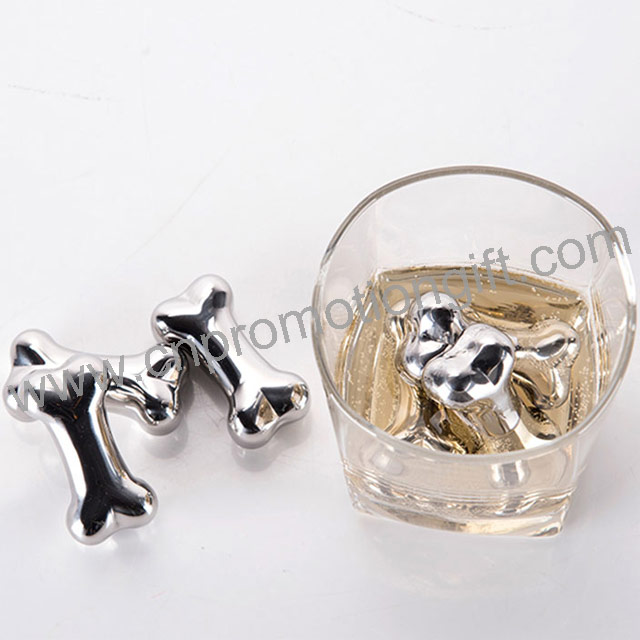ew Product 2019 Bone Stainless Steel Whiskey Rocks Ice Cube Chill Stone With Logo