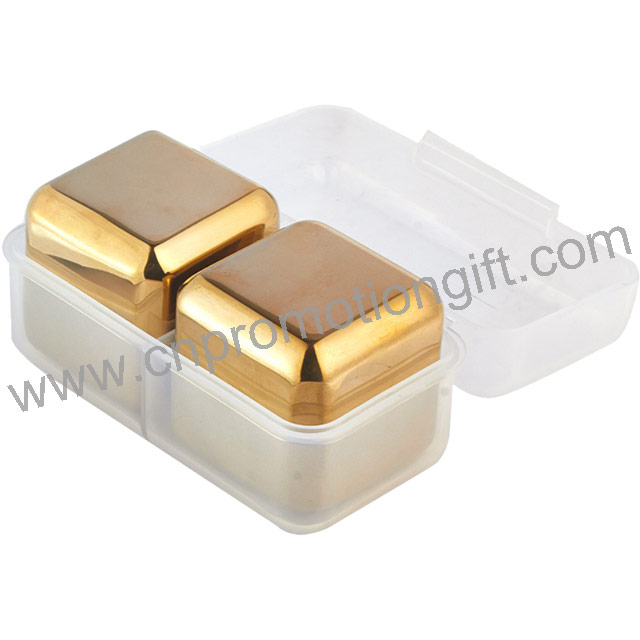 Mothers Day Gifts Durable Stainless Steel Gold Whiskey Stones Cube Ice With PP Box