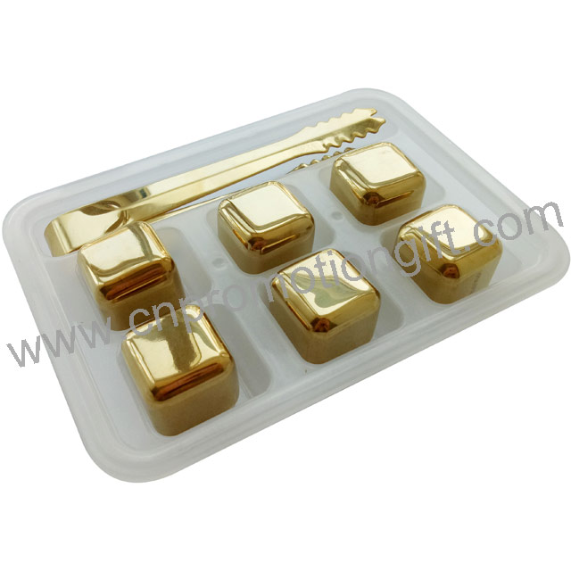 2019 Hot Sale 6pcs One Set Metal Cube Whisky Ice Stones Gold Set With Food Tong