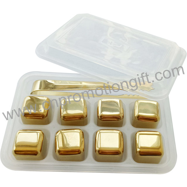 Promotion Gift Square Whiskey Stones Set Stainless Ice Cube Gold With Whiskey Tongs