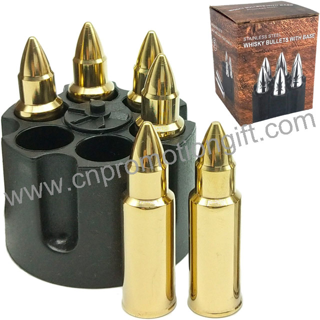 6PCS One Set Gold Steel Whiskey Stones Bullet Ice Stone With Ammunition Clip