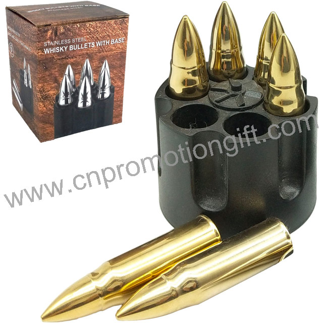 Cartridge Clip Promotional Gift Set Gold Whiskey Stones Stainless Steel Bullet Ice Cubes