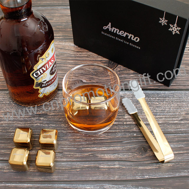New Product Ideas 2019 Stainless Ice Tong 6pcs Whiskey Stone Gold Set For Drinks