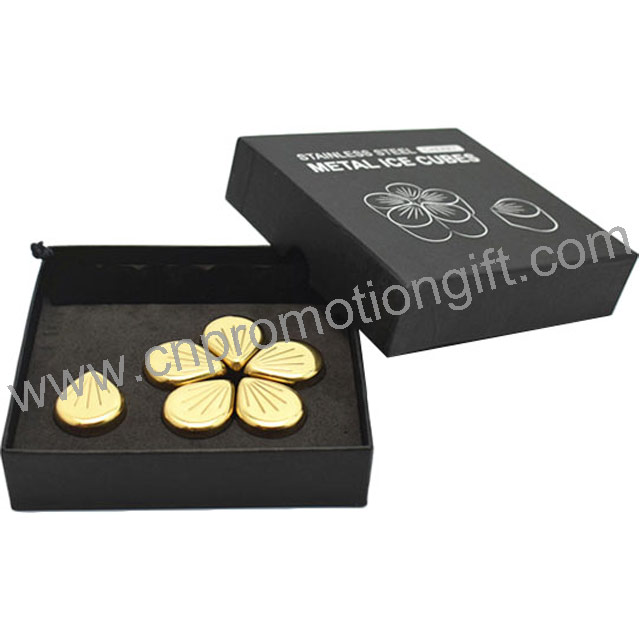 New Petal Shaped Flannelette Bag Whiskey Stone Set Steel Ice Cube Gold With Logo Box