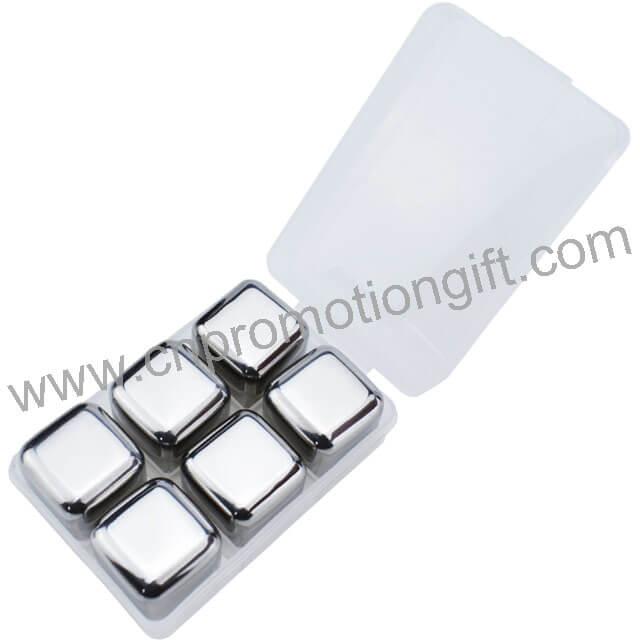 6pcs In PP Box Most Popular Items Metal Ice Cubes Whiskey Stones Gift Set For Drink