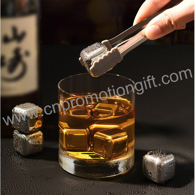 Stainless Steel Tong Whiskey Stones Best Ice Cube Reusable Wine Gift Set With Tong