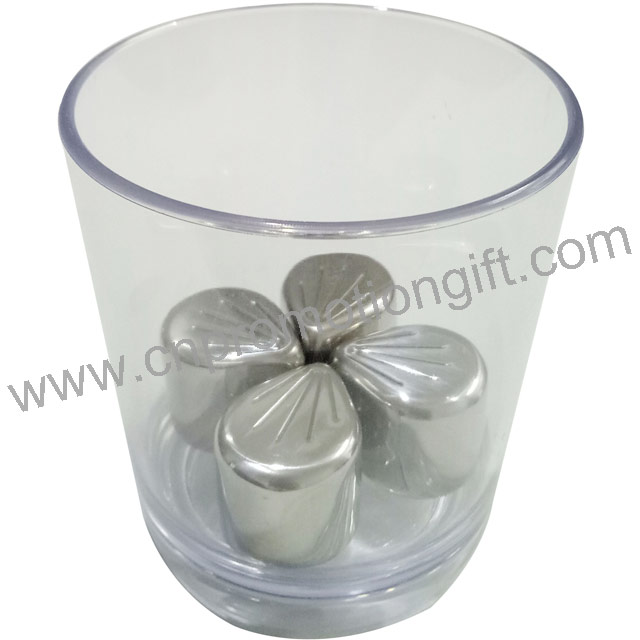 Hot Sale Make Special Shape Petal Customized Whiskey Ice Stones Metal Cube For Wine