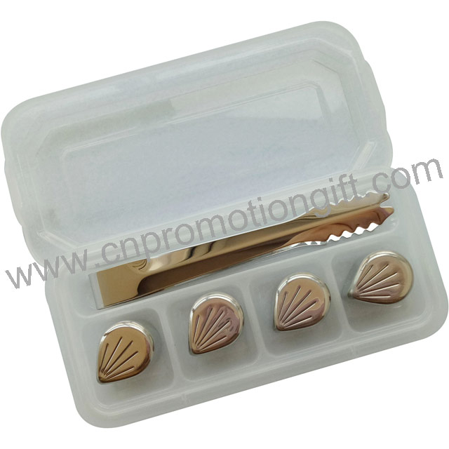 Wholesale Flower Petal Shaped Whiskey Steel Stones Logo Ice Cubes With Plastic Box