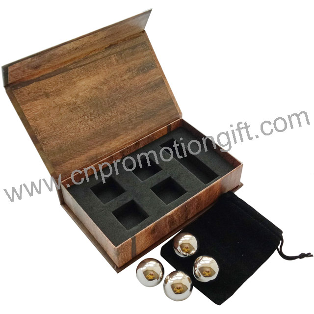 Promotion Box Beverage Chiller Gifts Whisky Stones Ice Cube Ball With Flannelette Bag