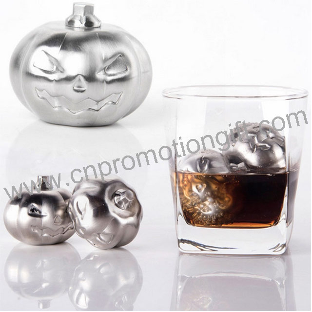 Customized Pumpkin Shaped Gifts Whisky Stones Stainless Steel Ice Cubes With Box