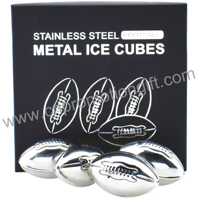 American Football Shaped Stainless Steel Ice Cubes Customized Whiskey Stones Wine Cooler