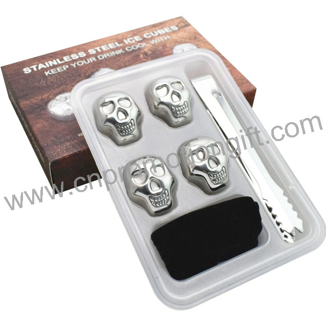 Wine Set Whiskey Promotion Steel Reusable Stainless Ice Cube With Flannelette Bag
