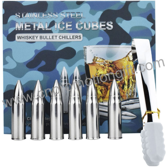 Custom Made Stainless Steel Ice Tong Whiskey Bullet Stones Gift Set With Logo Cube