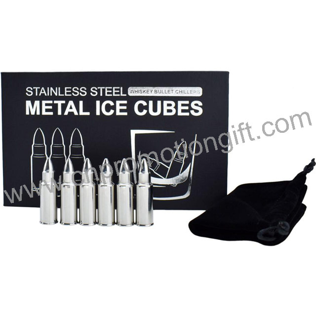 Business Gift Set Stainless Steel Reusble Bullet Ice Cube Whiskey Bullets For Wine Chiller