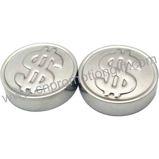 New Dollar Coin Shaped Customized Whiskey Ice Stones Stainless Steel Cubes With Tong